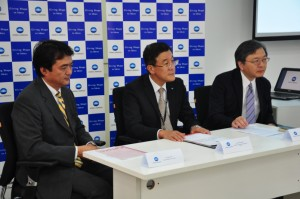 Mr. Tadahiko Sumitani, MD, Konica Minolta Business Solutions India Pvt. Ltd (at the middle) addressing the media