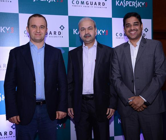 L to R - Maxim Mitrokhin - Director of Operations, Kaspersky Lab, Asia-Pacific, Ajay Singh Chauhan - Chief Executive Officer, ComGuard, Altaf Halde - Managing Director, Kaspersky Lab, South Asia