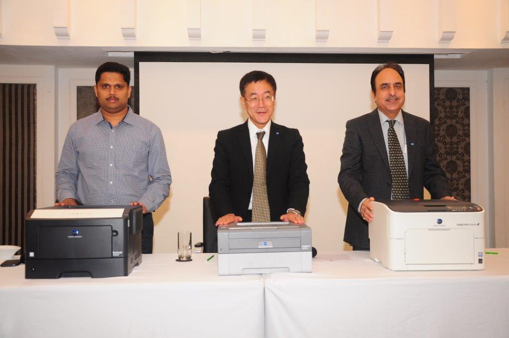 Mr. Tadahiko Sumitani, MD, Konica Minolta Business Solutions India Pvt. Ltd (at the middle) launching A4 printers