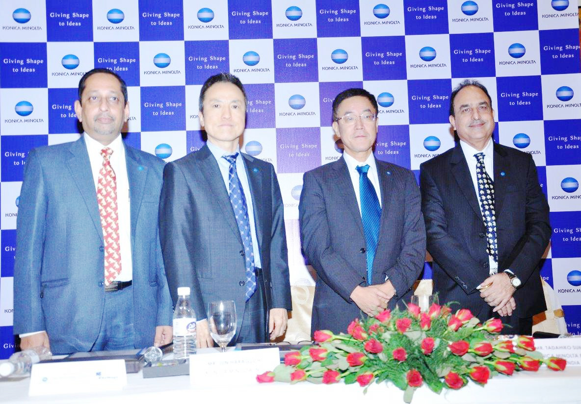 Konica Minolta team with Mr. Haraguchi addressing the Press Conference