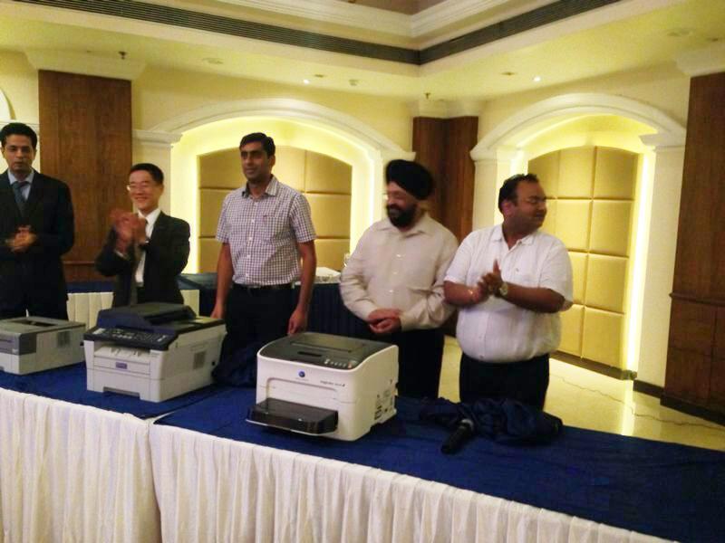 Mr. Tadahiko Sumitani,MD, Konica Minolta launching the A4 printer range in Jalandhar,Punjab
