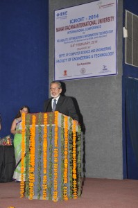 Dr. Pronab Sen, Chairman- National Statistical Commission addressing gathering at ICROIT-2014 event held at MRIU