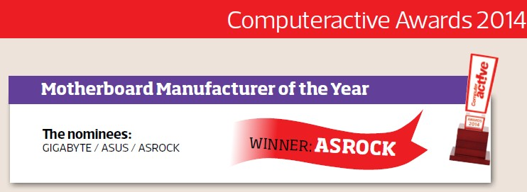 ASRock has won the award of Best Motherboard Manufacturer of the Year 2014