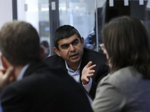 Vishal Sikka, Chief Technology Officer for SAP AG, speaks at the Reuters Global Technology Summit in New York