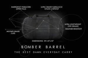 Bomber Barrel Black features webbing CROPPED