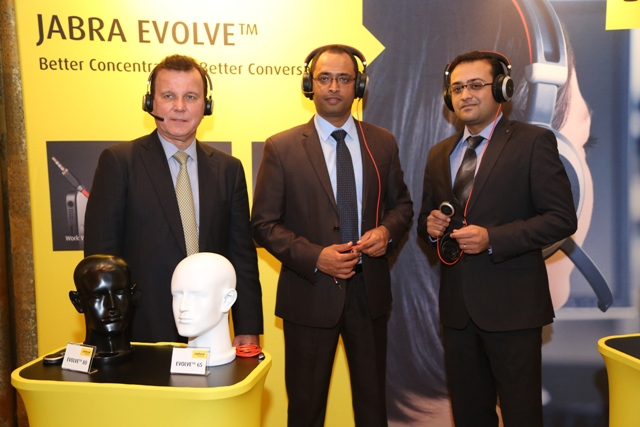 Mark R Leigh, President APAC_ Saurabh Singhal, Head of Marketing & Alliances_ Kapil Manchanda, MD India_Jabra_Nov 13_2014_1