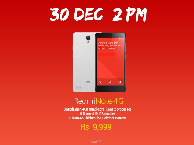 xiaomi _redmi_note_4g_flash_sale_dec_30_official_twitter