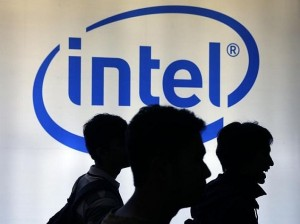 intel logo background shadows people