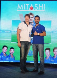 Rajasthan Royals captain Shane Watson and Ajinkya Rahane at the launch of MITASHI 50 inch Smart LED TV