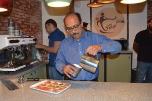 VA pouring coffee at FIKA