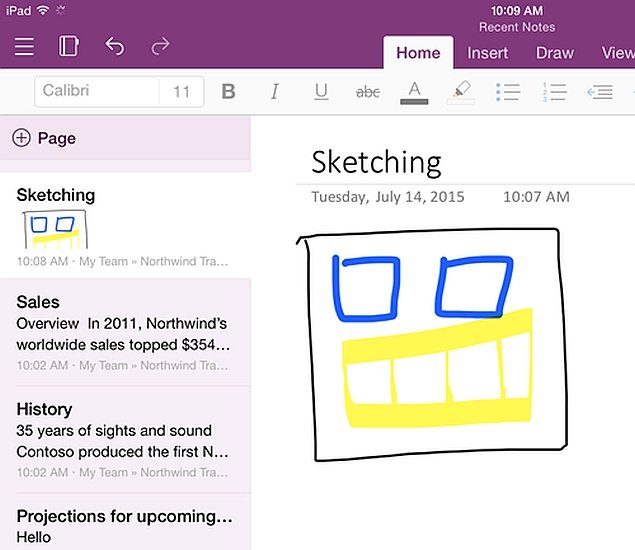 microsoft onenote recent notes section ipad