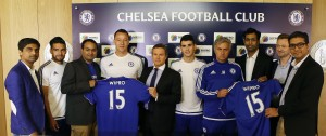 Jose Mourinho and John Terry post the signing ceremony with Wipro execs
