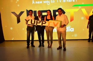 YuppTV India Launch - From Left to Right - Mr Uday Reddy Founder and CEO of Yupp Tv with Mr Brian Lara, Ms Pariniti CHopra ad Mr K T Rama Rao the IT and Panchayat Raj Minister of Telangana