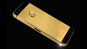 The GBP 10m diamond-encrusted gold Apple iPhone 5 designed by Stuart Hughes, Britain - 11 Apr 2013