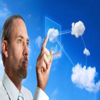 Businessman works with Virtual Cloud Computer - cloud computing