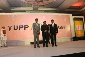 L to R - Mr. Abhishek  Bachchan, Governor of MH, Shri Vidyasagar Rao, Mr. Uday Reddy, Founder & CEO, YuppTV
