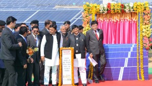 UP CM Shri Akhilesh Yadav along with Mr. Ashok Agarwal, CEO, Essel Infra inaugurating 50 Mw solar power plant at Jalaun district