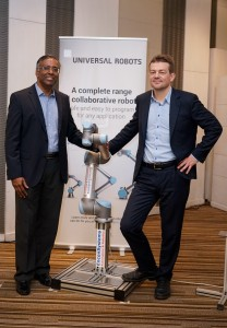 Mr. Pradeep David, General Manager, India and Mr. Esben Østergaard, Founder & Chief Technical Officer, Universal Robots, at the launch of their collaborative robots (co-bots)