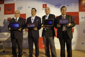 From Left Mr Jagdeep Kapoor,Mr Priyadarshi Mohapatra (Microsoft india), Mr Sandeep Arora ( Intel), Mr Sandeep Parasrampuria (iBall)  (1)