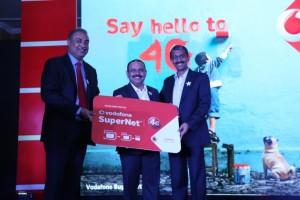Frm Left_Sunil Sood_MD Vodafone India_Mohit Narru_Business Head Vodafone Haryana_Suresh Kumar Operations Director North Vodafone_4G Launch