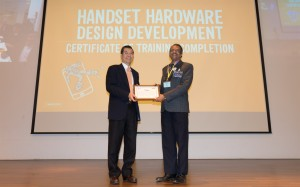MediaTek Chairman Mr MK Tsai presenting certification of completion to p...