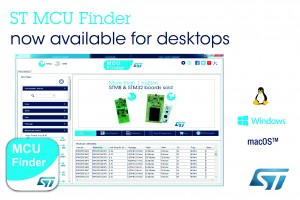 STMicroelectronics' MCU Finder for PC Connects Conveniently to STM32 and STM8 Design Resources Directly on Developer's Desktop